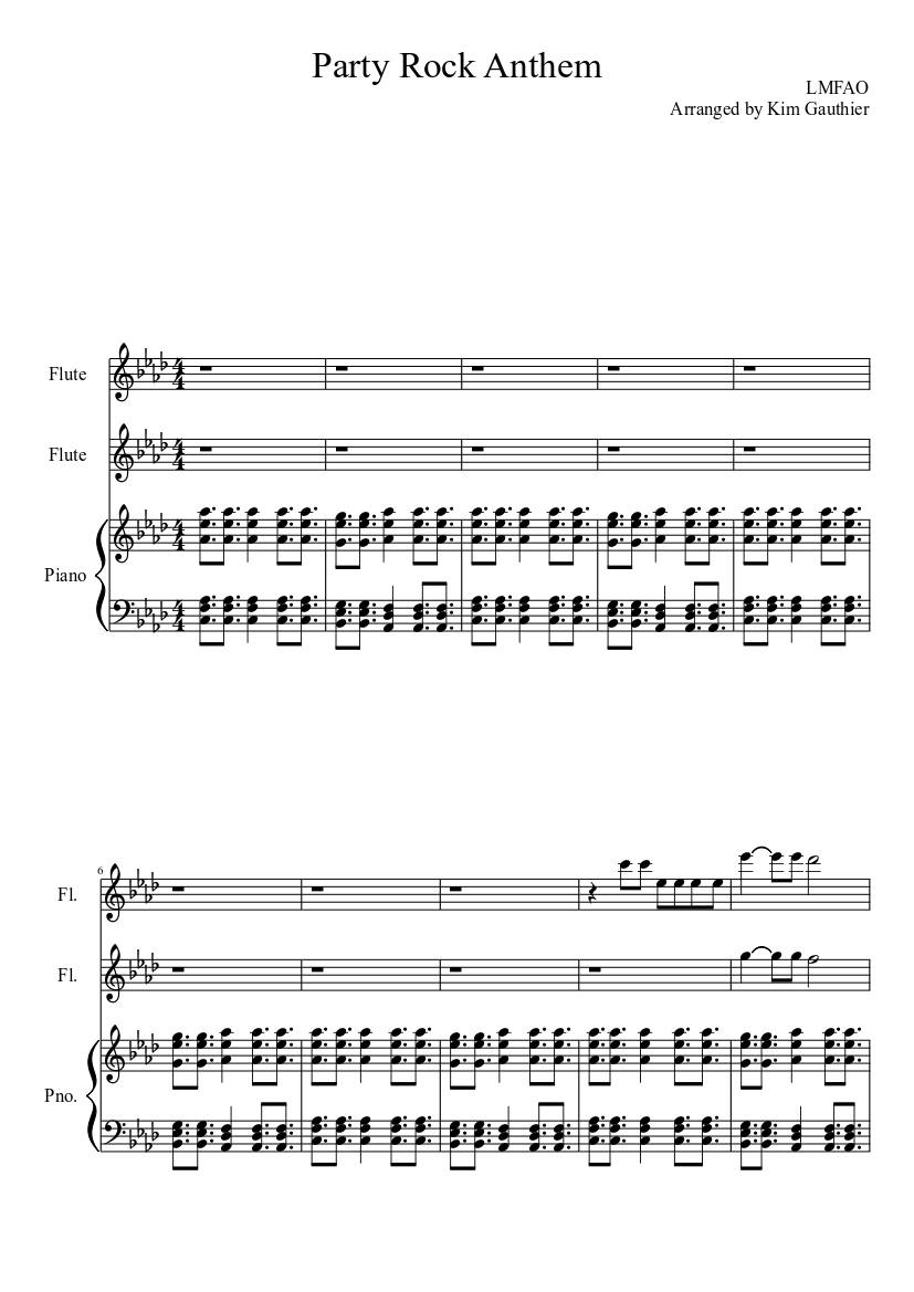 Party Rock Anthem For Two Flutes And Piano Sheet Music For Piano Flute Mixed Trio Musescore Com