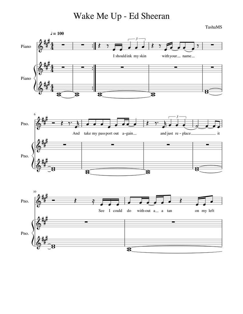 Wake Me Up   Ed Sheeran Sheet music for Piano Piano Duo ...