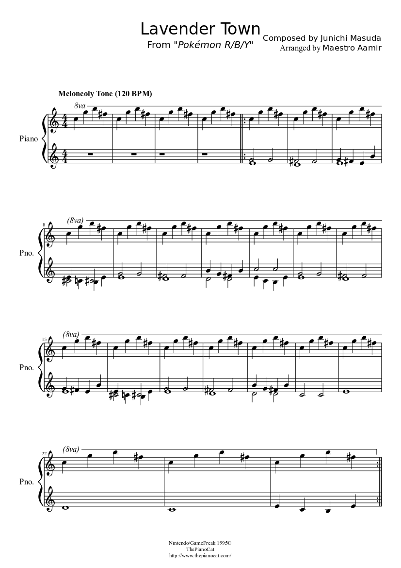 Lavender Town Pokémon Rby Sheet Music Download Free In Pdf Or Midi