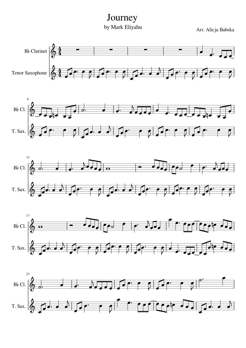 Mark Eliyahu Journey Sheet Music For Clarinet In B Flat Saxophone Tenor Woodwind Duet Musescore Com