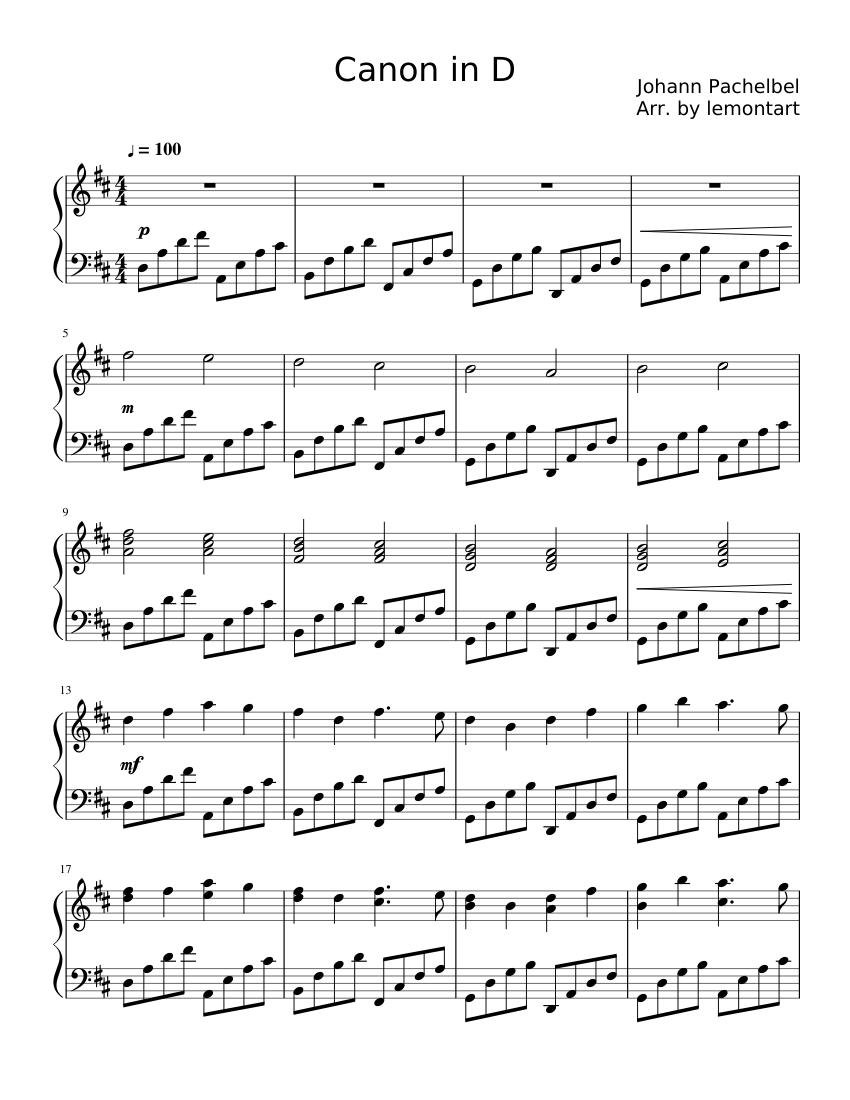 Canon in D Major (Pachelbel's Canon)  カノン 無料 ピアノ 楽譜