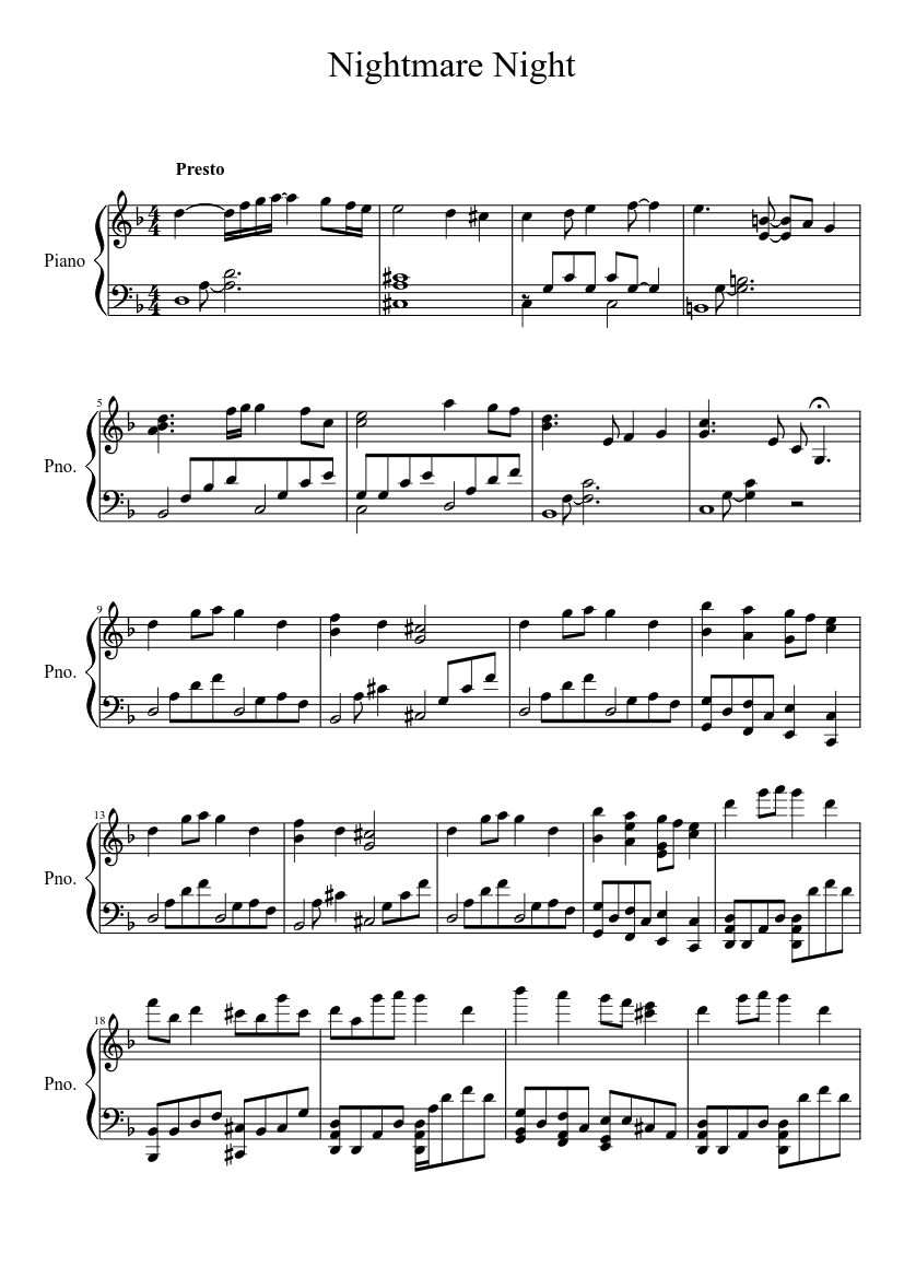 My Little Pony Friendship Is Magic Nightmare Night Sheet Music For