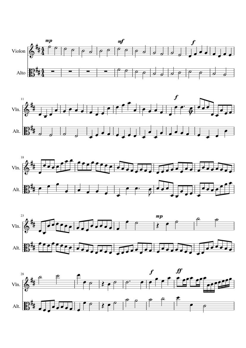 Sheet music for Violin, Viola