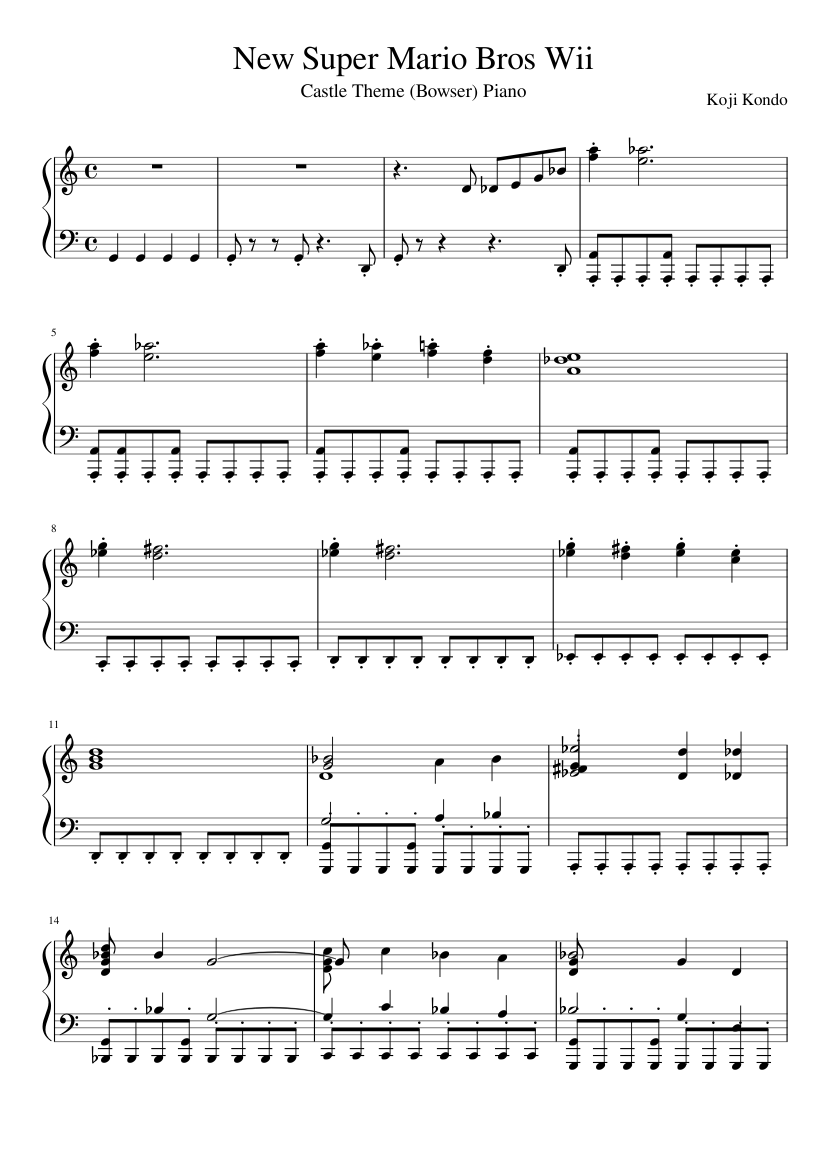 New Super Mario Bros Wii Castle Theme Piano Bowser Sheet Music For