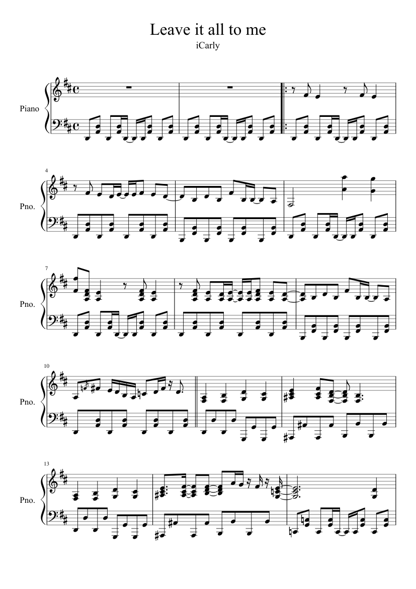 leave it all to me full ver sheet music for piano download free in
