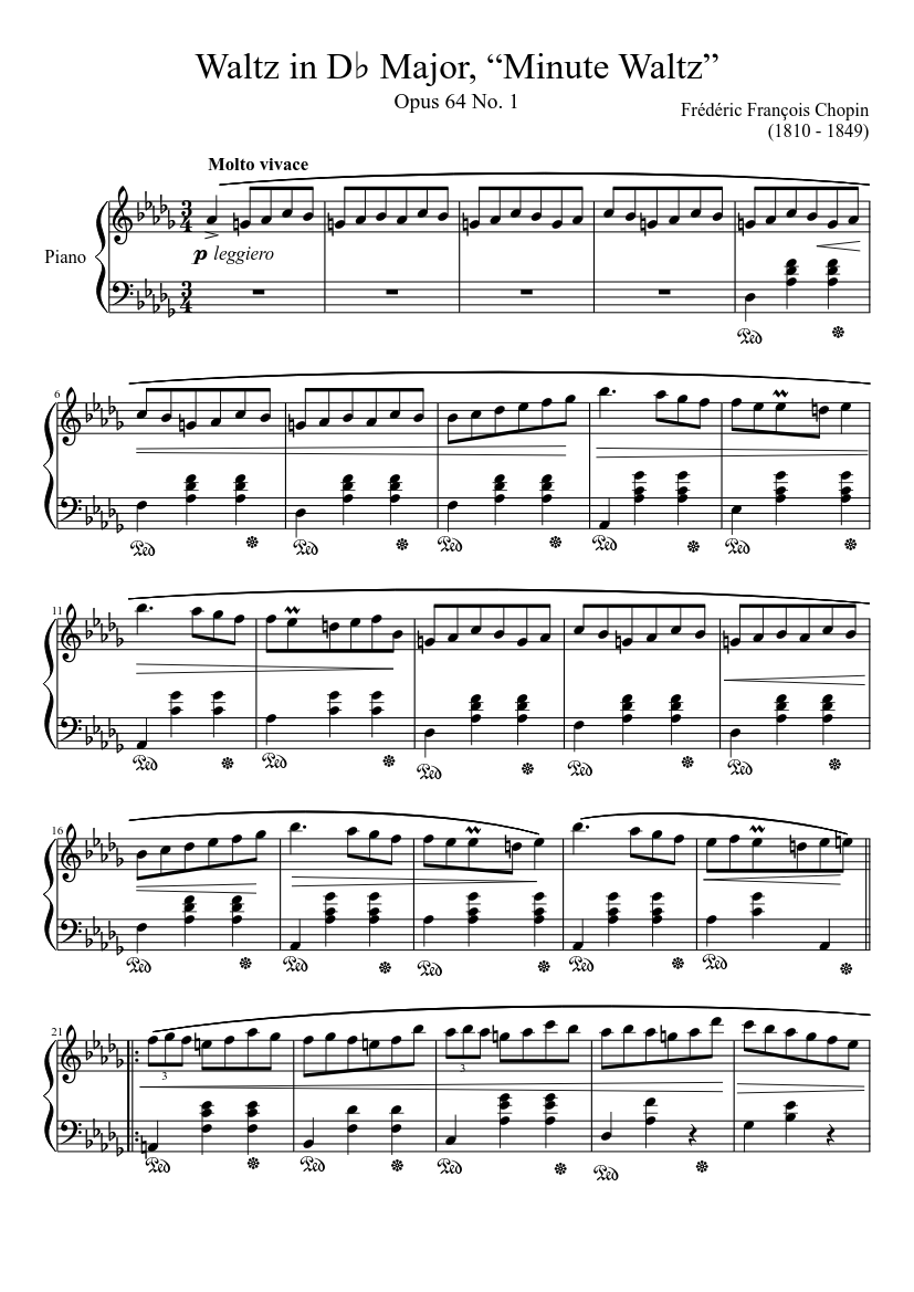 Waltz Opus 64 No 1 In D Major Minute Waltz Sheet Music For Piano Solo Musescore Com