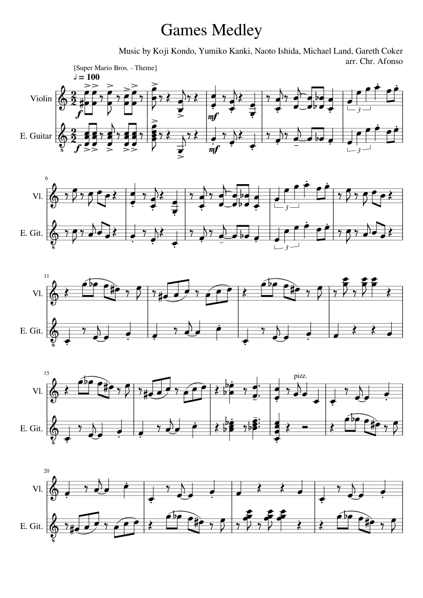 Game Music Medley 1 sheet music for Violin, Guitar download