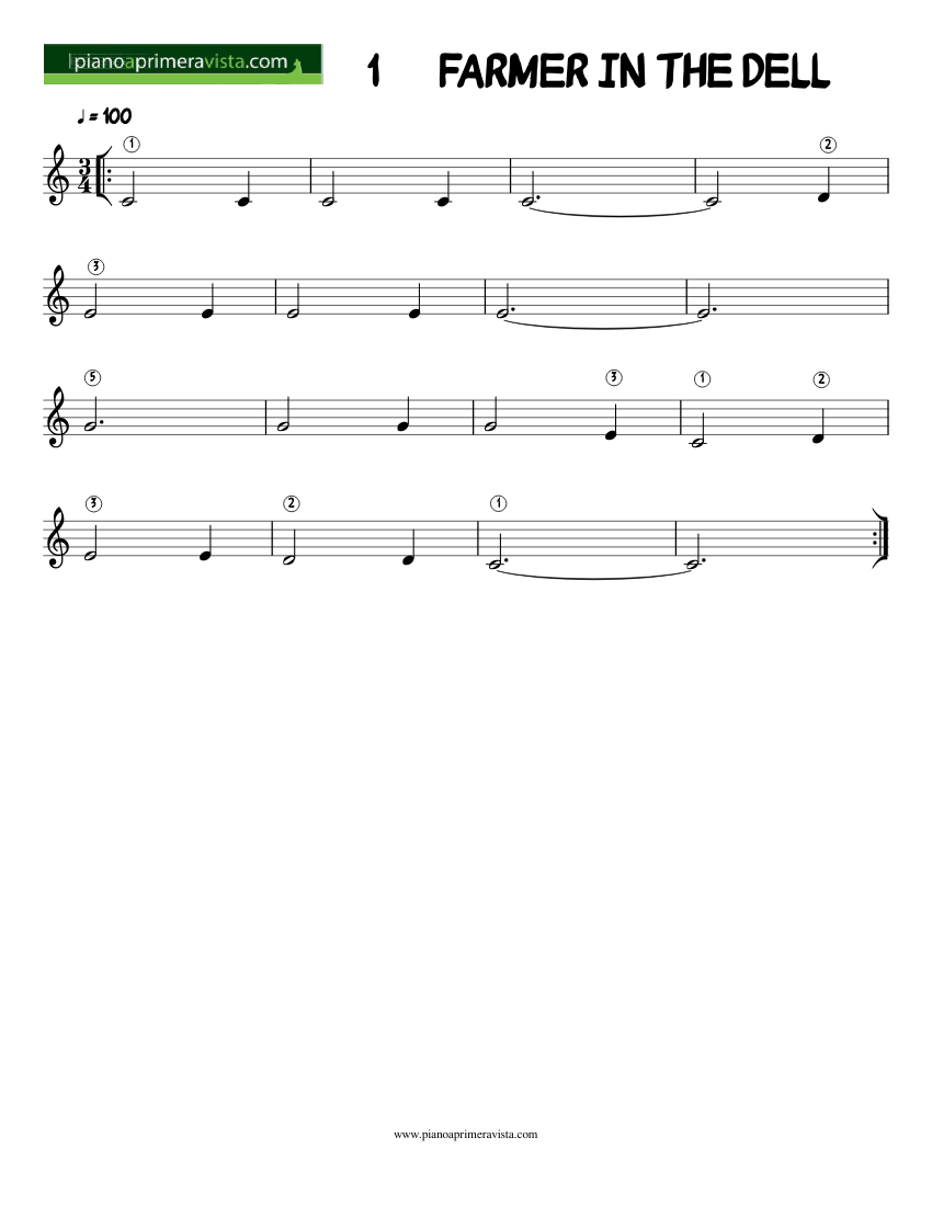 FARMER IN THE DELL mel sheet music for Piano download free