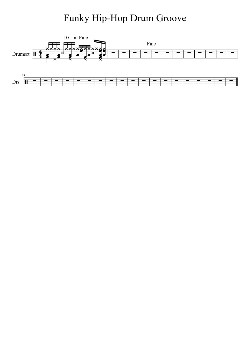 Funky Hip-Hop Drum Groove sheet music download free in PDF or MIDI