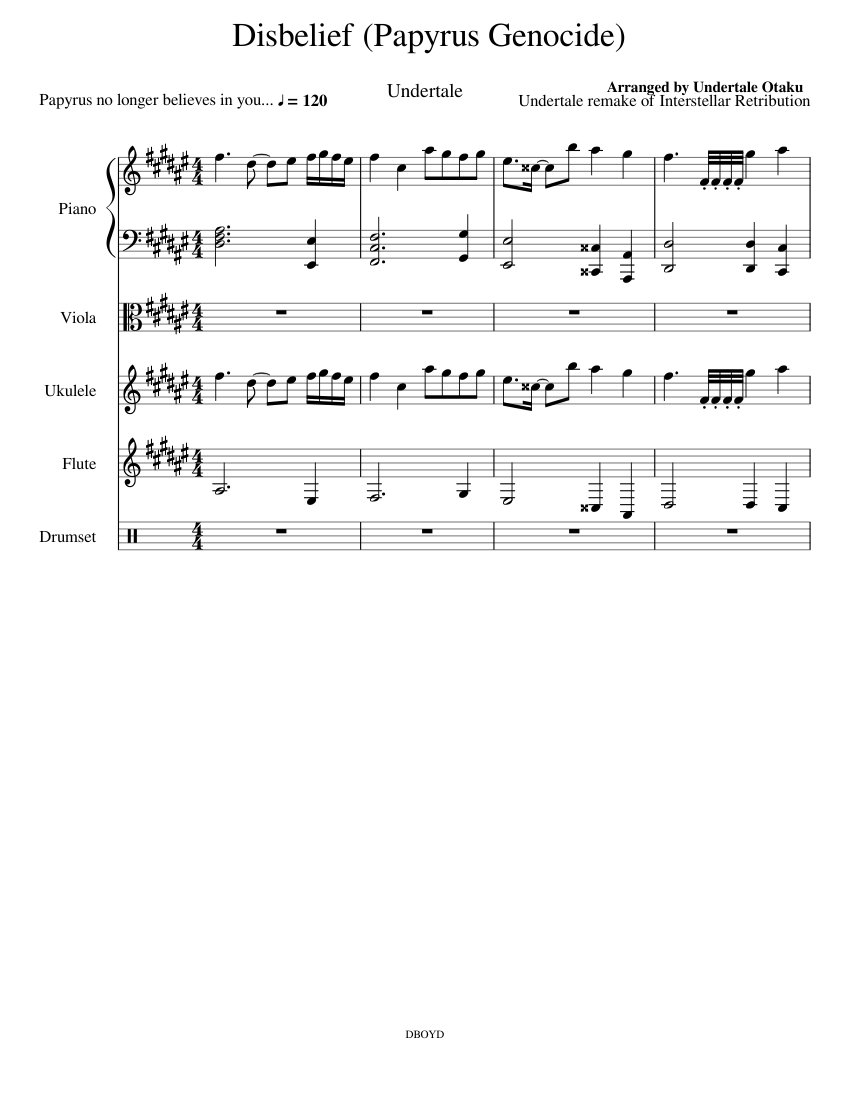 Disbelief (aka Papyrus Genocide) sheet music for Piano, Flute, Viola