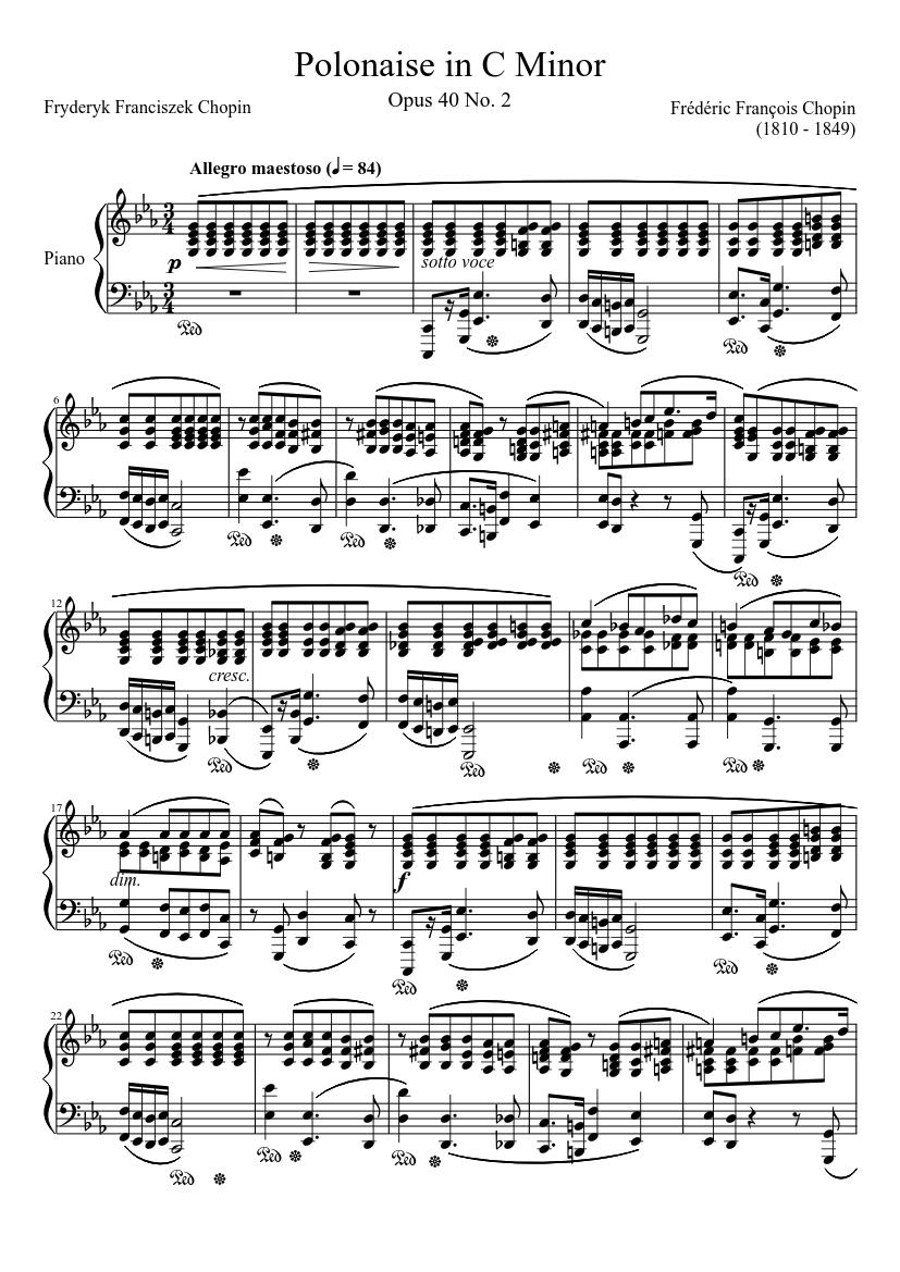 polonaise opus 40 no. 2 in c minor sheet music for piano (solo) |  musescore.com  musescore.com