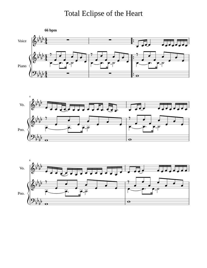 Total Eclipse of the Heart Sheet music for Piano, Voice Other ...