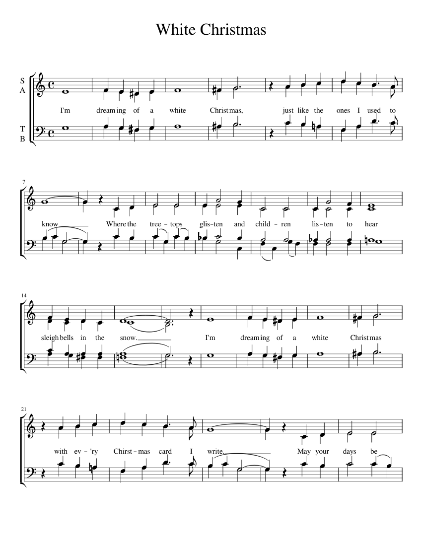 White Christmas sheet music for Voice download free in PDF or MIDI