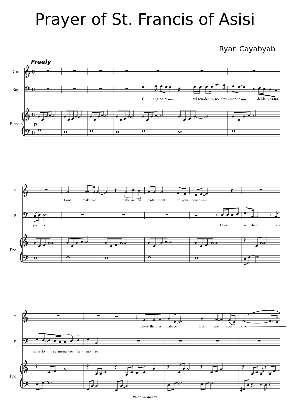 prayer of st. francis ryan cyabyab sheet music for piano (solo)    musescore.com  musescore.com