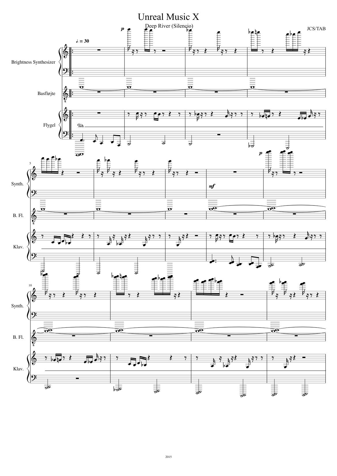 Unreal Music X - Deep River (Silencio) sheet music for Flute