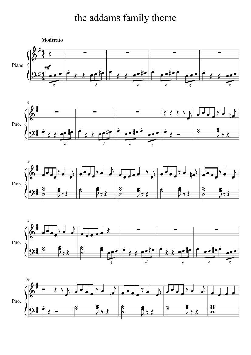 The Addams Family Sheet Music For Piano Solo Musescore Com
