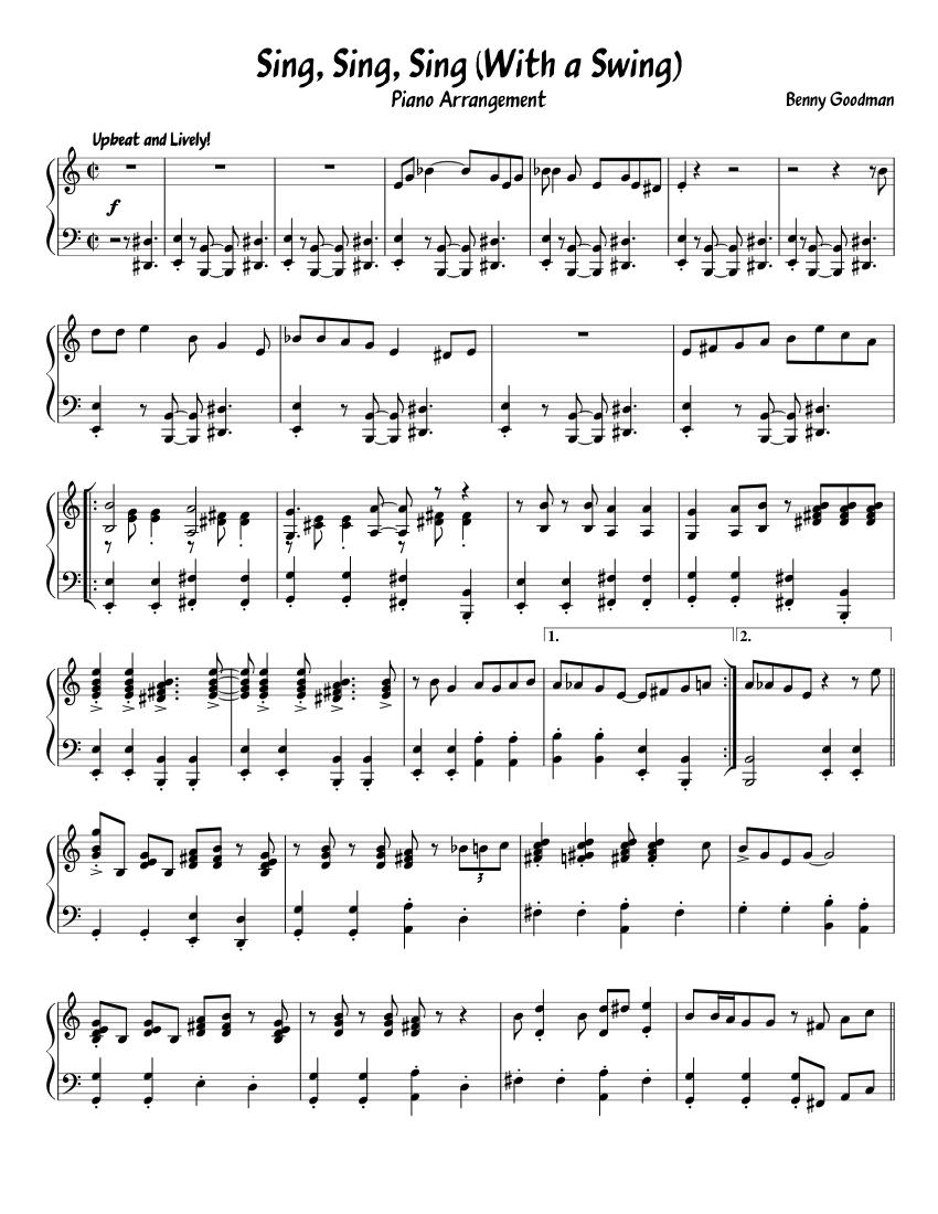 Sing, Sing, Sing (1938 Carnegie Hall Piano Transcription) sheet