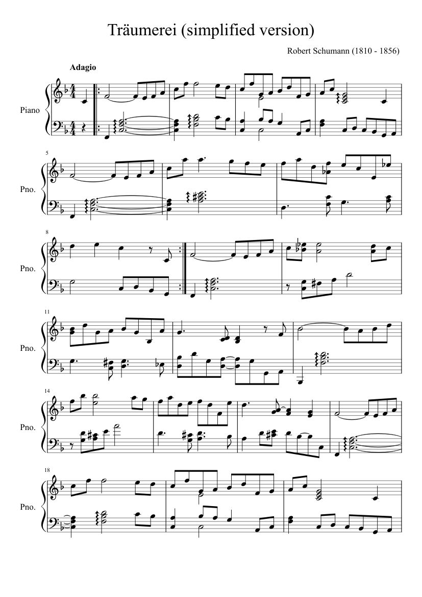 Kinderszenen, Op.15 by Robert Schumann sheet music arranged by OrangeKen for Solo – 1 of 2 pages