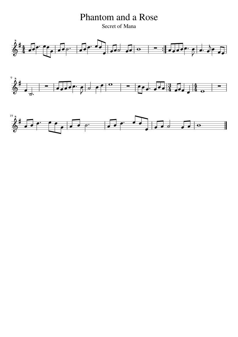 secret of mana sheet music