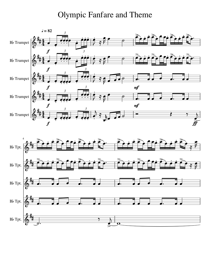 Olympic fanfare for brass quintet sheet music for trumpet, french.