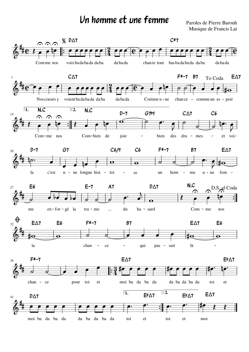 Un Homme Et Une Femme Sheet Music For Piano Download Free In