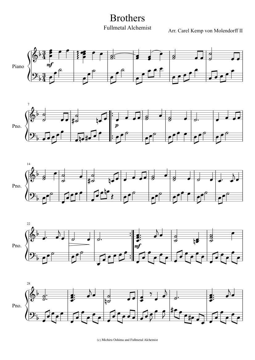 Brothers (fullmetal alchemist) sheet music for piano download free.