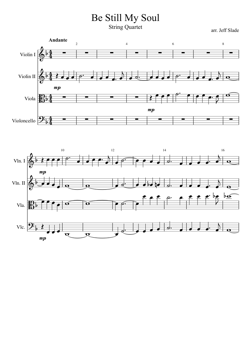 Be Still My Soul Sheet Music For Violin Viola Cello Download Free