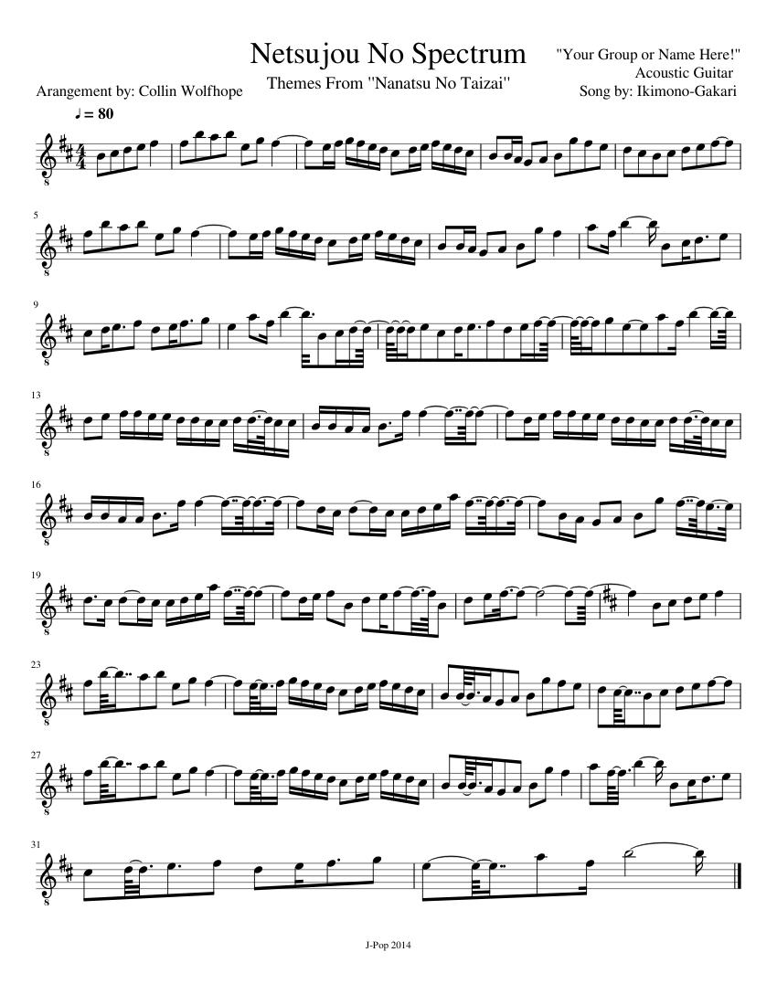 Netsujou No Spectrum Sheet music for Guitar (Solo)