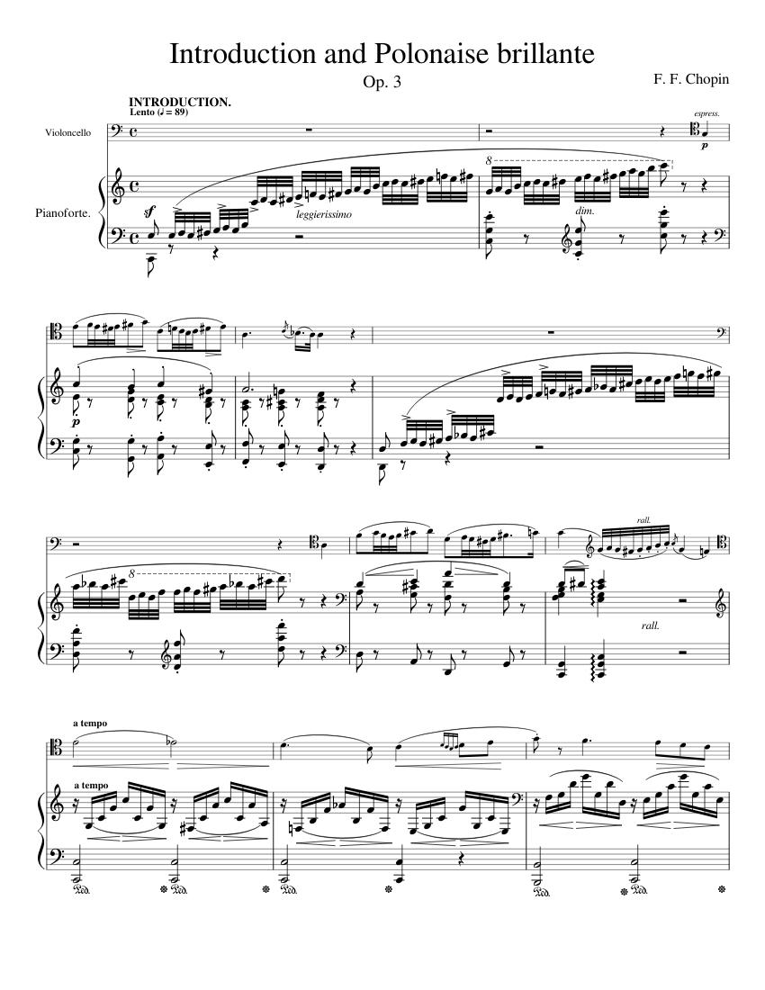 introduction and polonaise brillante sheet music for piano, cello (solo)    musescore.com  musescore.com