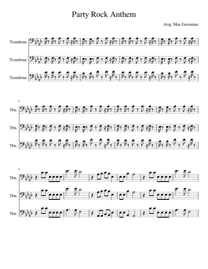 Party Rock Anthem Trombone Sheet Music For Trombone Mixed Trio Musescore Com