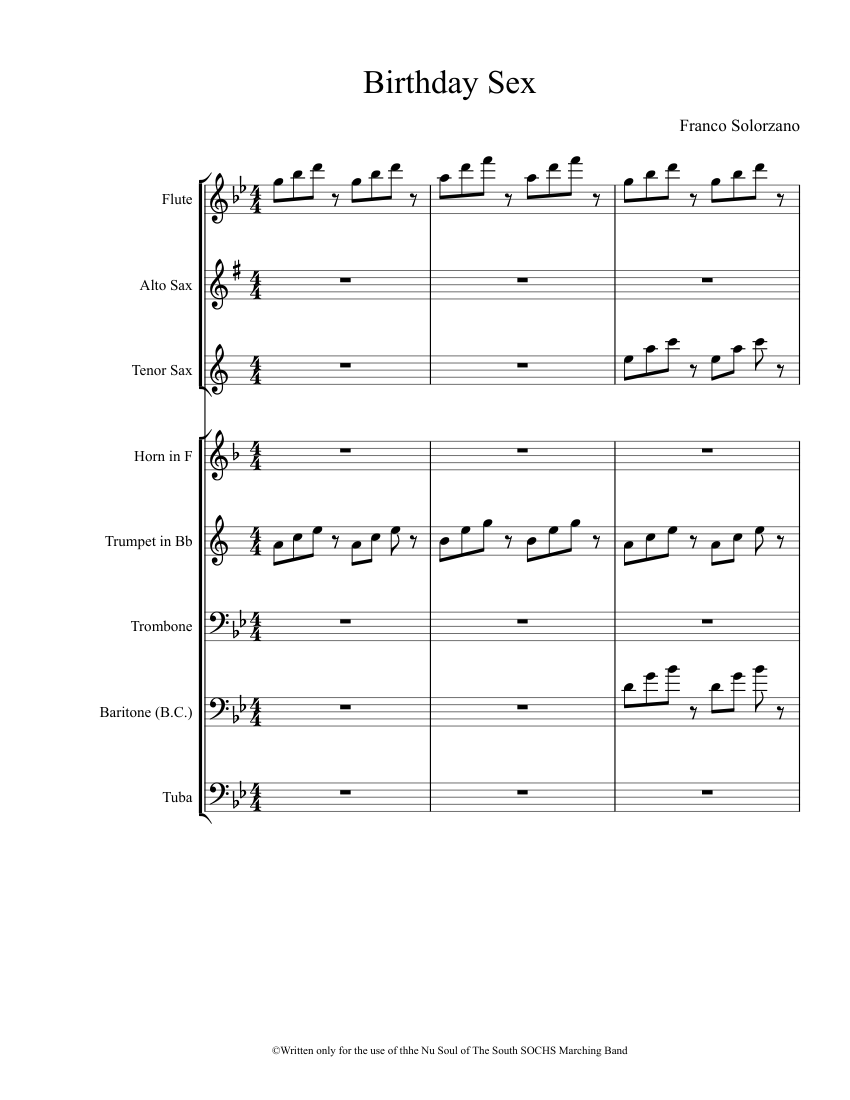 Birthday Sex Sheet Music For Strings Download Free In PDF
