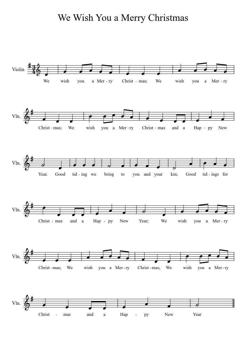 photograph regarding We Wish You a Merry Christmas Lyrics Printable identify We Need Your self a Merry Xmas sheet audio for Violin