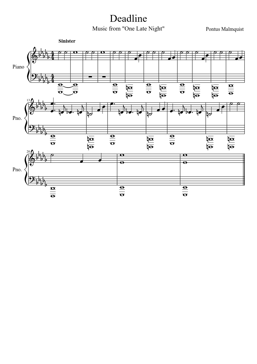 Deadline One Late Night Sheet Music For Piano Download Free In