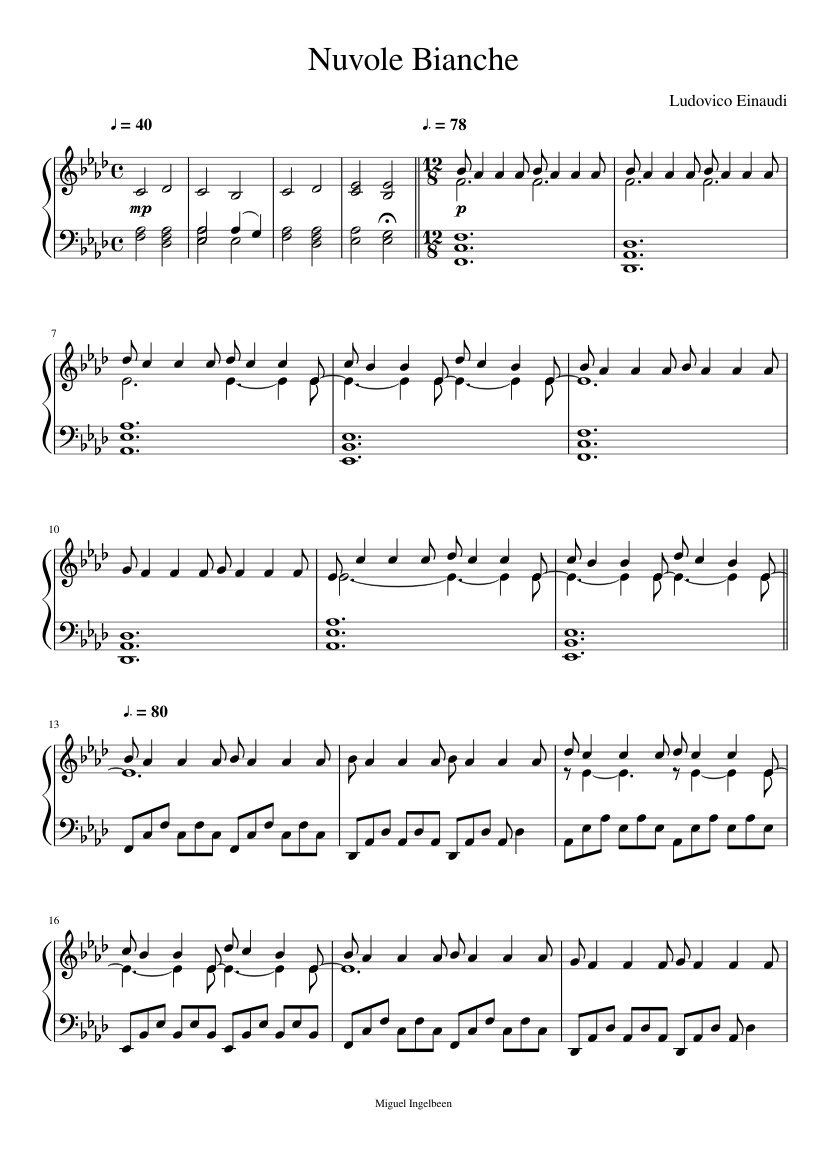 Nuvole Bianche sheet music composed by Ludovico Einaudi – 1 of 6 pages 308e924dce4f