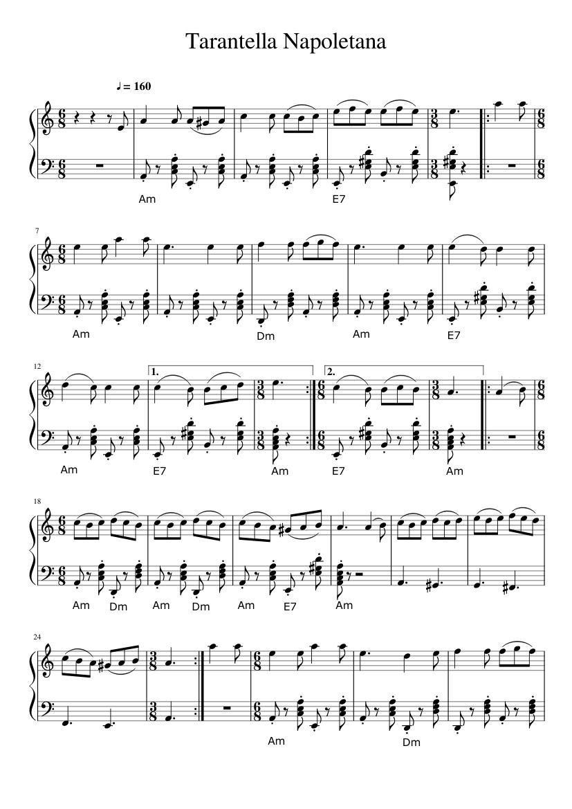 Tarantella Napoletana Sheet Music For Piano Download Free In