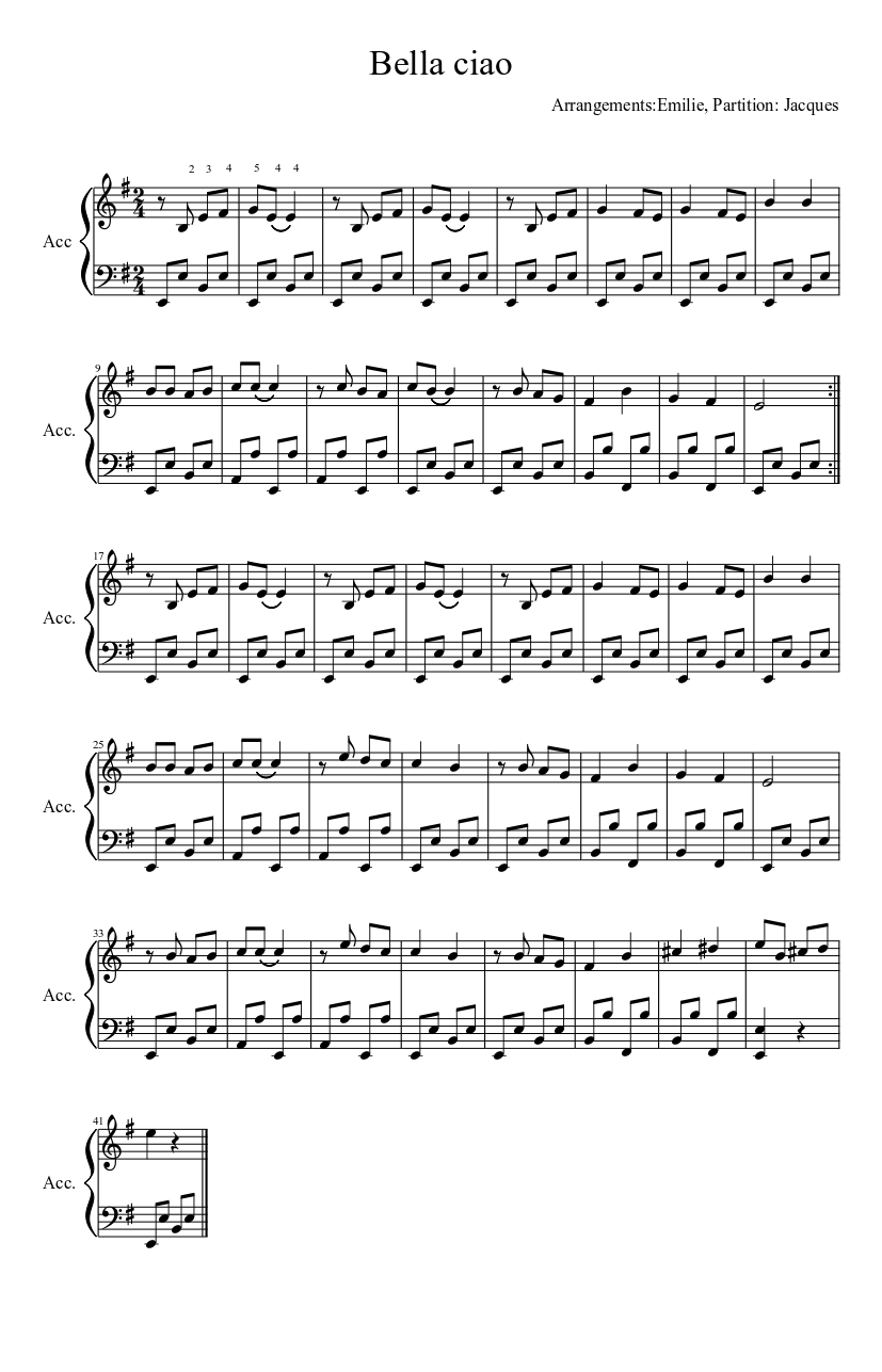 Bella Ciao Sheet Music For Accordion Solo Musescore Com
