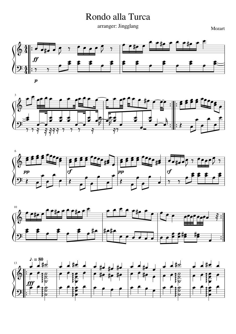Alla Turca Mozart rondo alla turca (turkish march) - mozart sheet music for