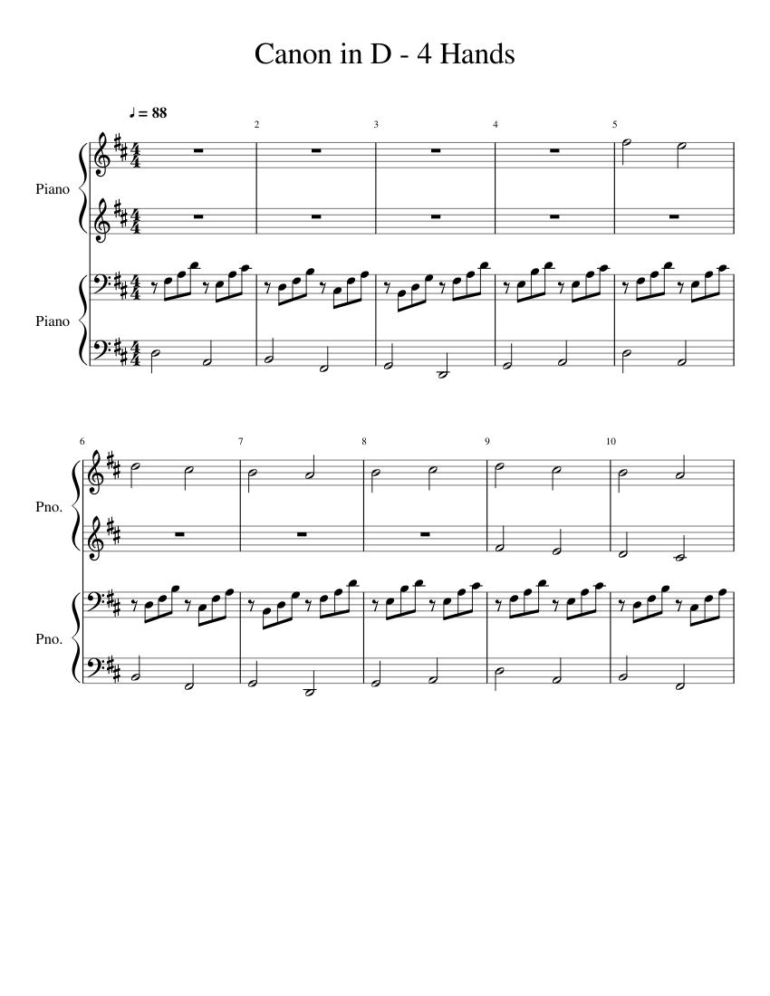 Canon In D 4 Hands Sheet Music For Piano Piano Duo Musescore Com