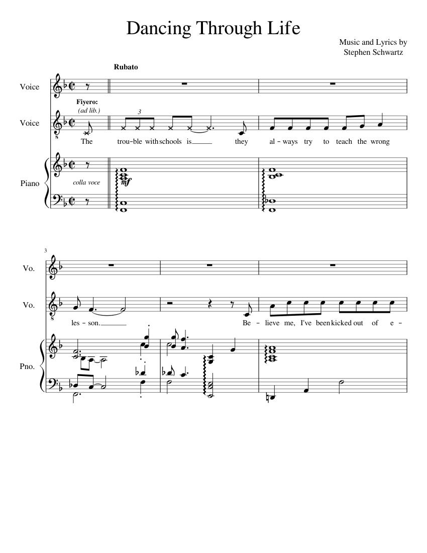 Dancing Through Life - Karaoke sheet music for Piano, Viola download