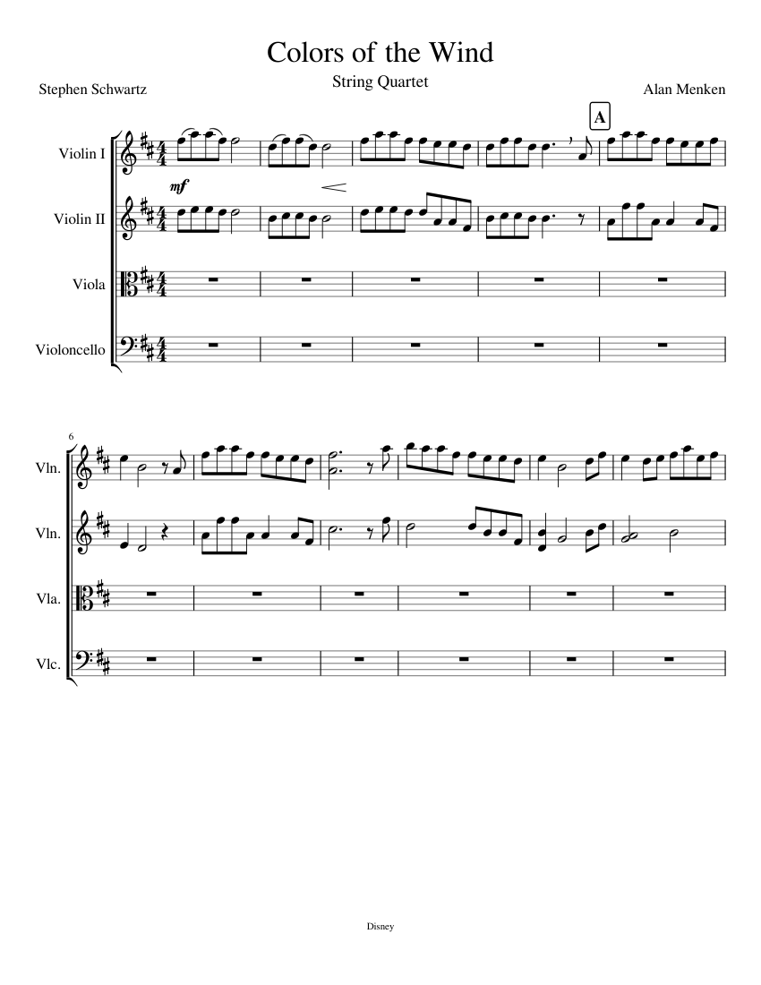Colors Of The Wind Sheet Music Composed By Alan Menken 1 8 Pages