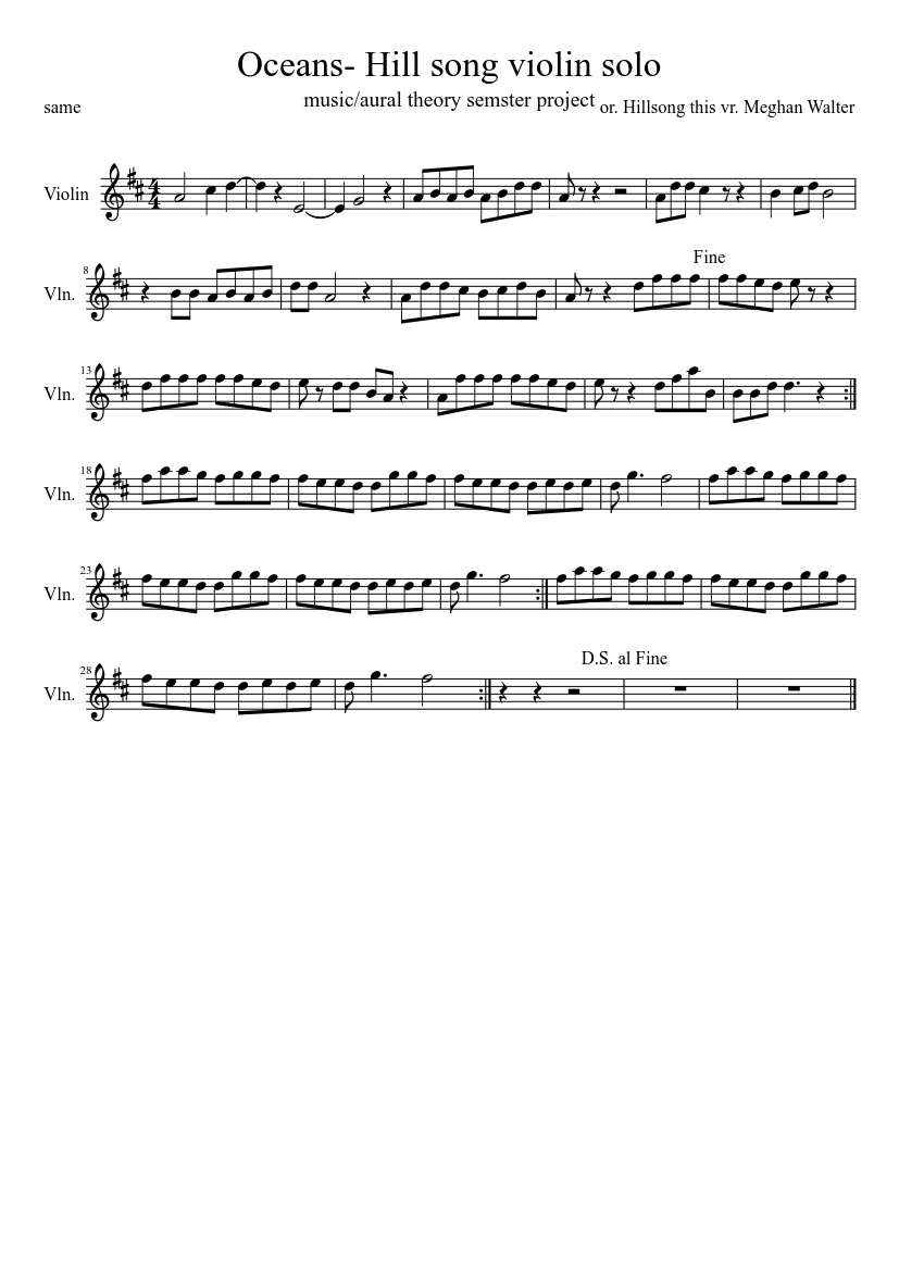 Oceans- Hill song violin solo sheet music for Violin