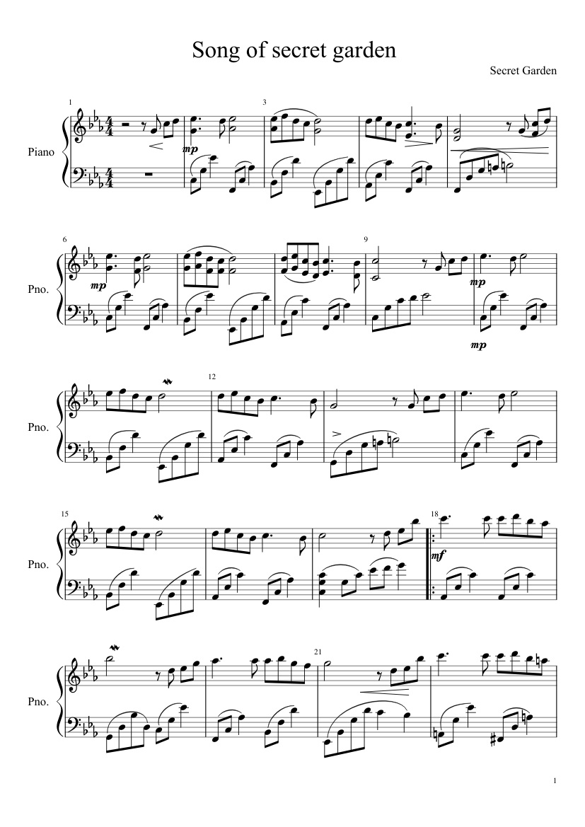 Song from a secret garden sheet music download free in pdf or midi.