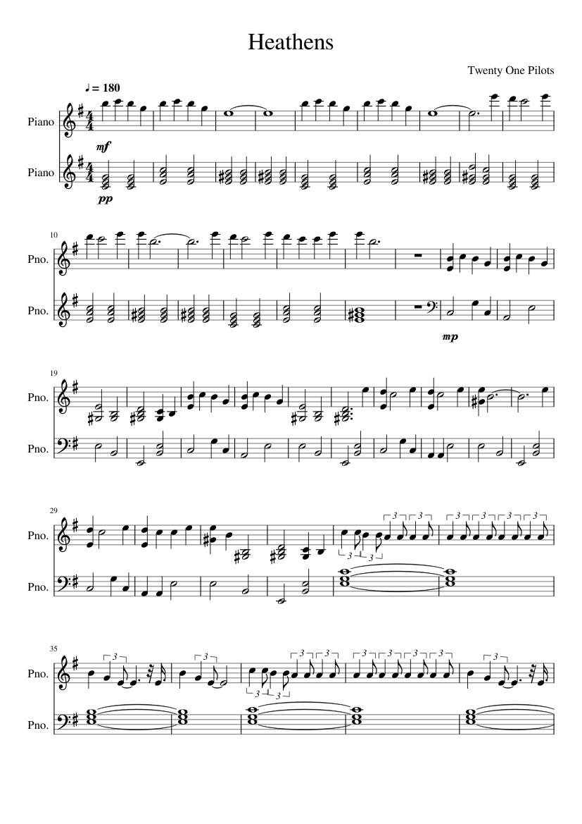 20 One Pilots Heathens heathens - piano - twenty one pilots sheet music for piano