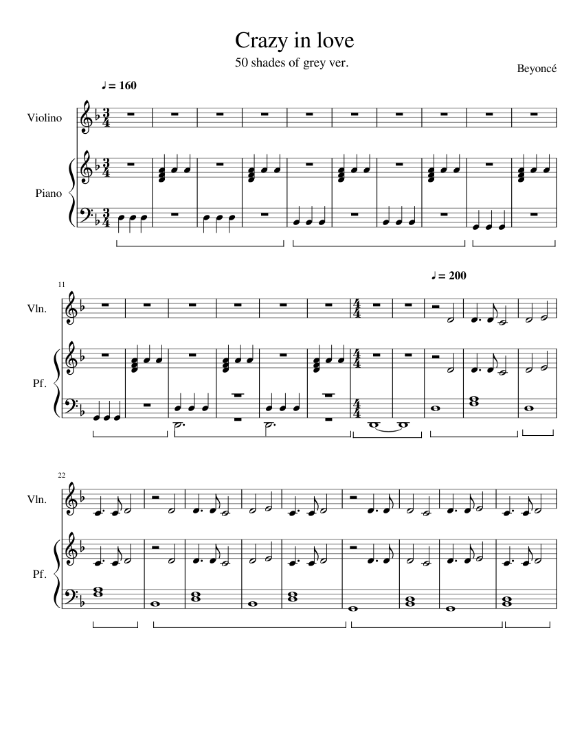 crazy in love piano sheet free