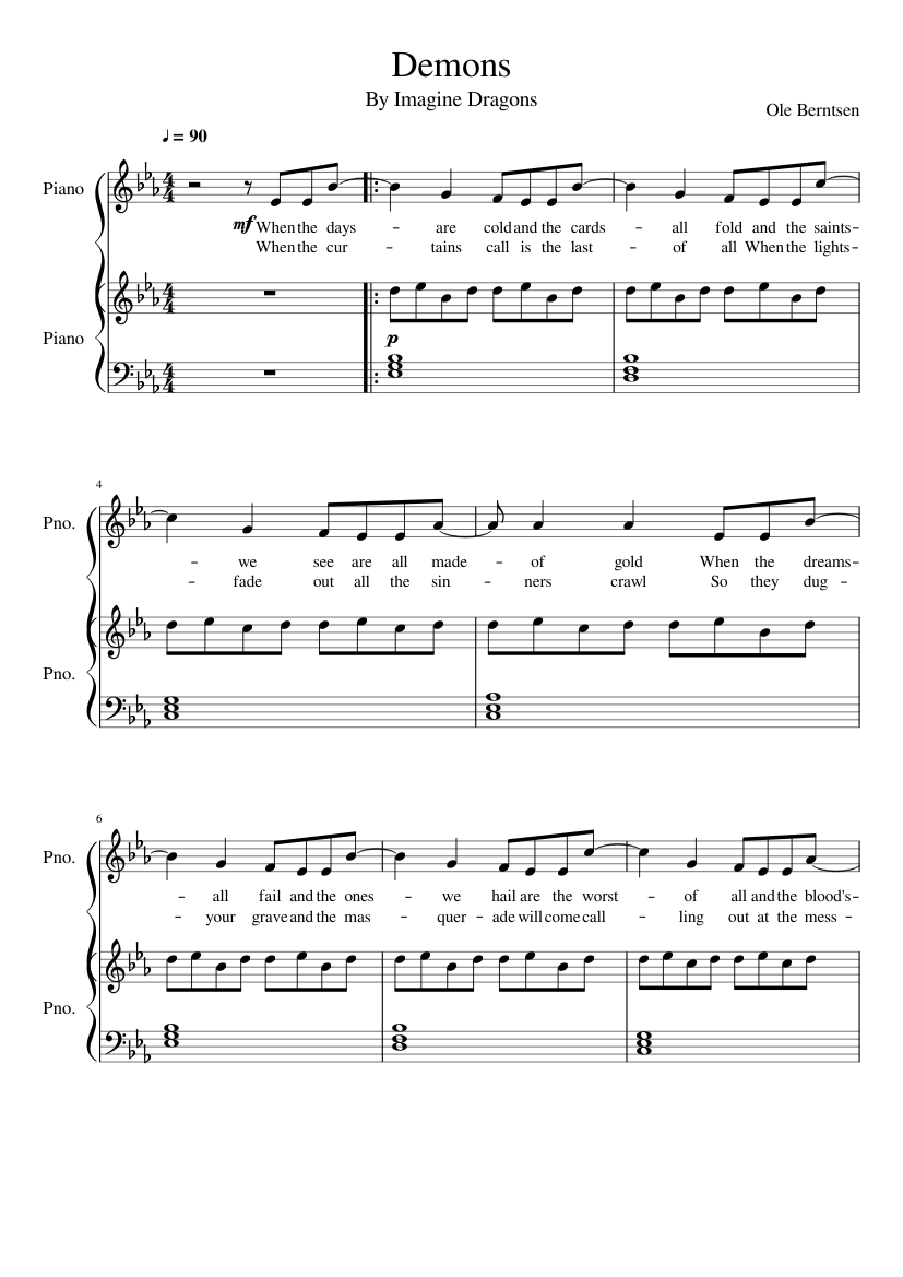 Demons - Imagine Dragons sheet music for Piano download ...