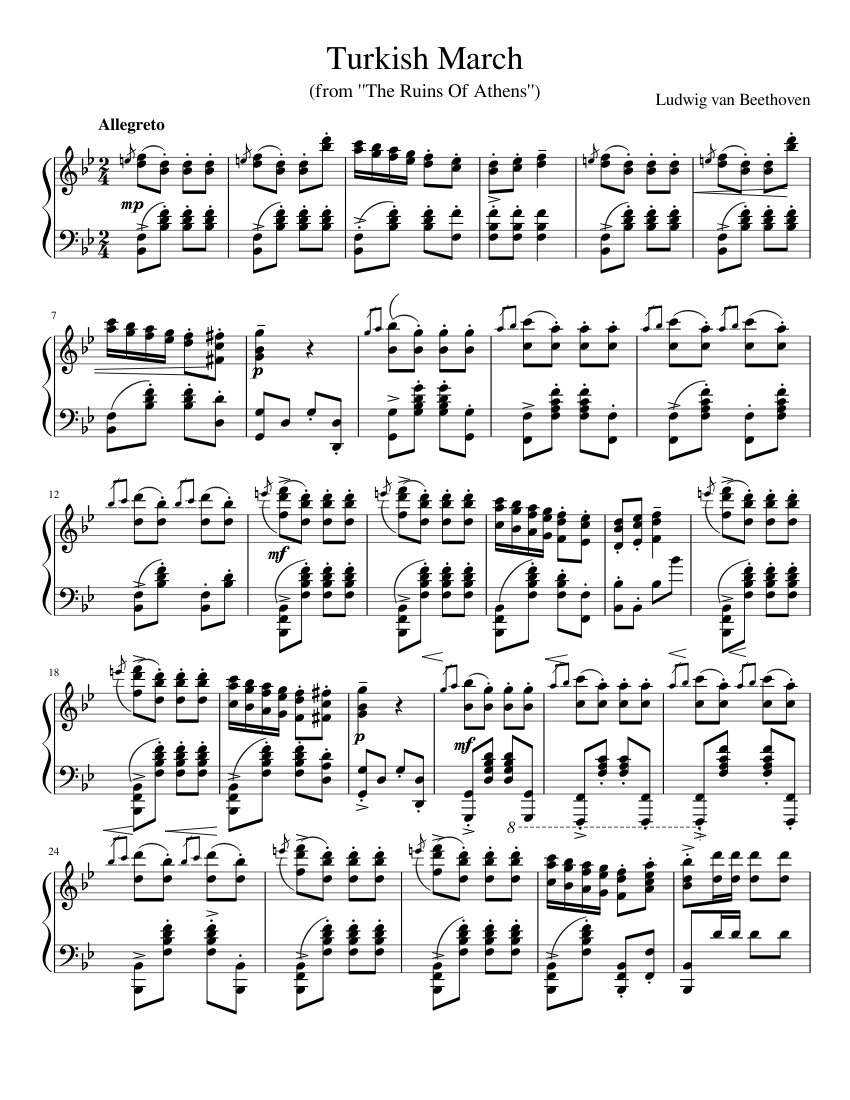 Mozart rondo alla turca (turkish march) piano sheet music.