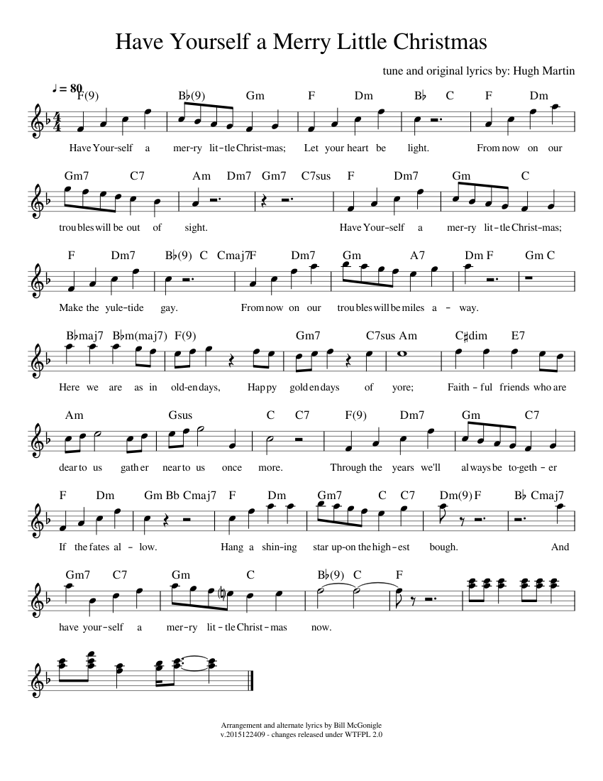 Have Yourself a Merry Little Christmas sheet music composed by tune and original lyrics by: