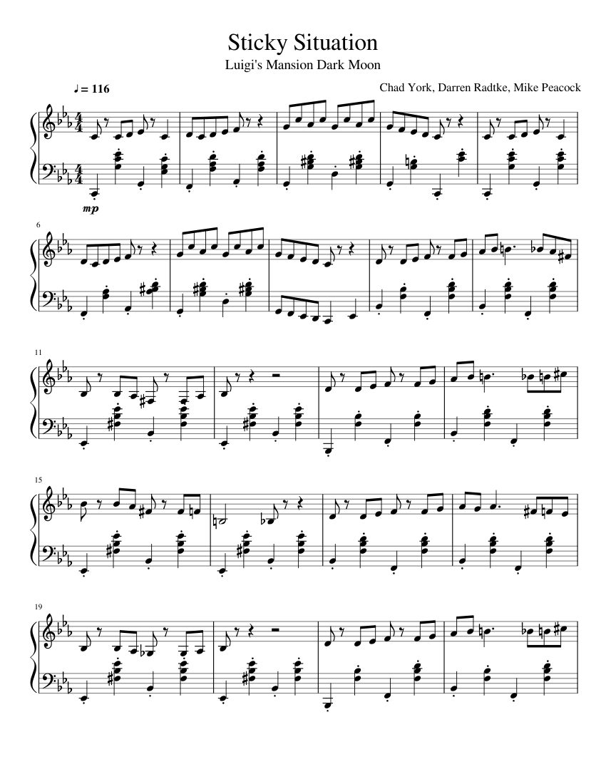 luigi s mansion dark moon sticky situation sheet music for piano