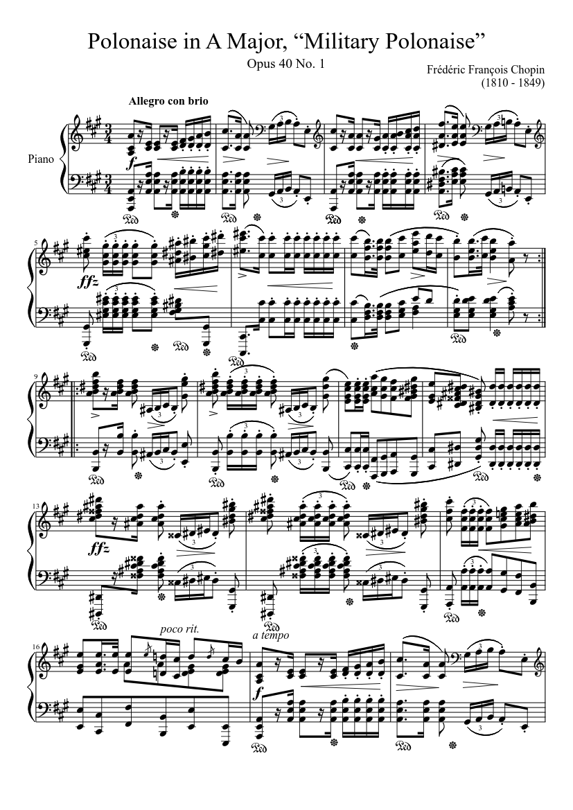 "polonaise opus 40, no. 1 in a major, ""military polonaise"" sheet music for  piano (solo) | musescore.com  musescore.com"