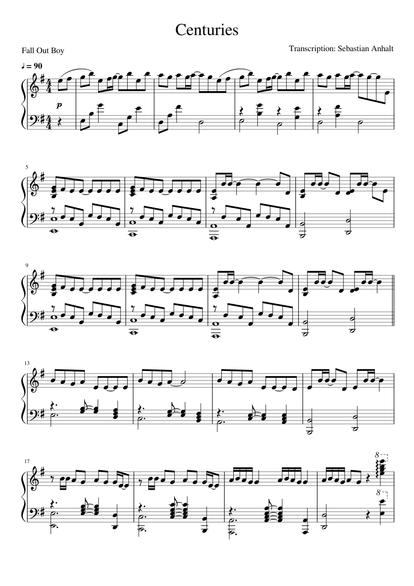 Centuries Sheet Music For Piano Download Free In Pdf Or Midi